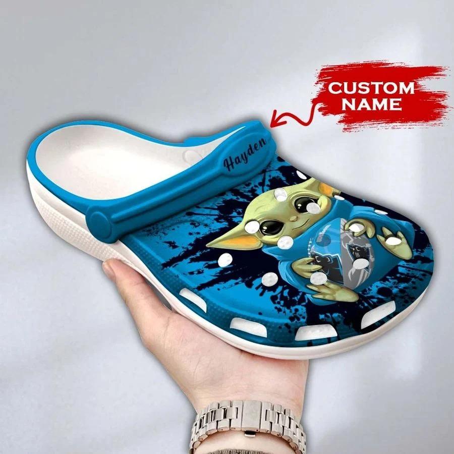 Baby Yoda Carolina Panthers custom name crocs crocband clog3