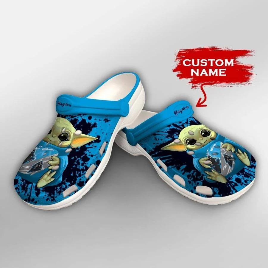 Baby Yoda Carolina Panthers custom name crocs crocband clog2