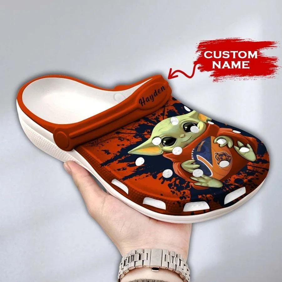 Baby Yoda Chicago Bears custom name crocs crocband clog3