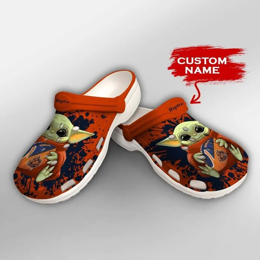 Baby Yoda Chicago Bears custom name crocs crocband clog2