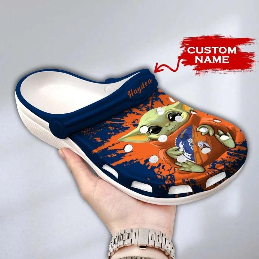 Baby Yoda Denver Broncos custom name crocs crocband clog3
