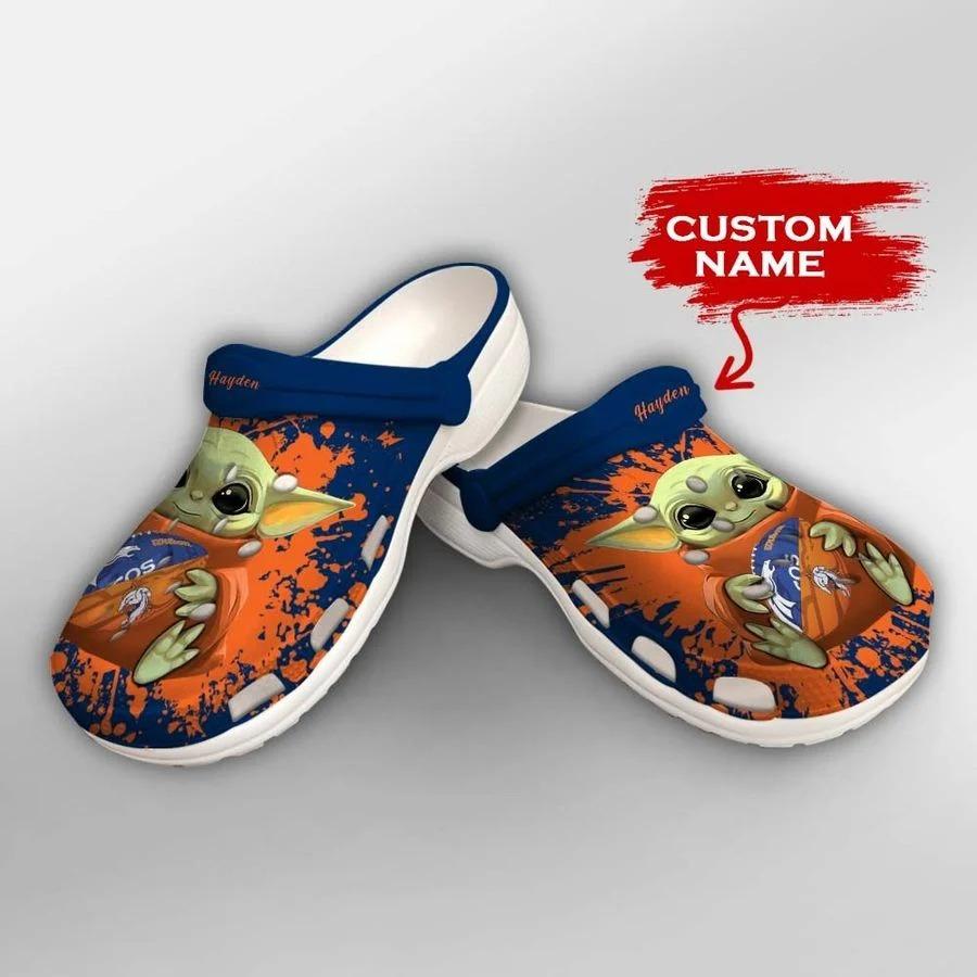 Baby Yoda Denver Broncos custom name crocs crocband clog2