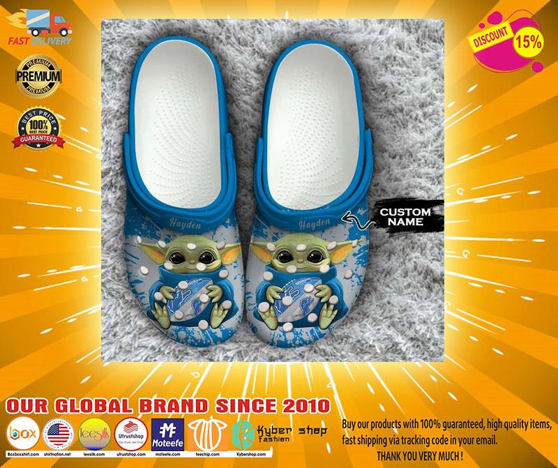 Baby Yoda Detroit Lions custom name crocs crocband clog4