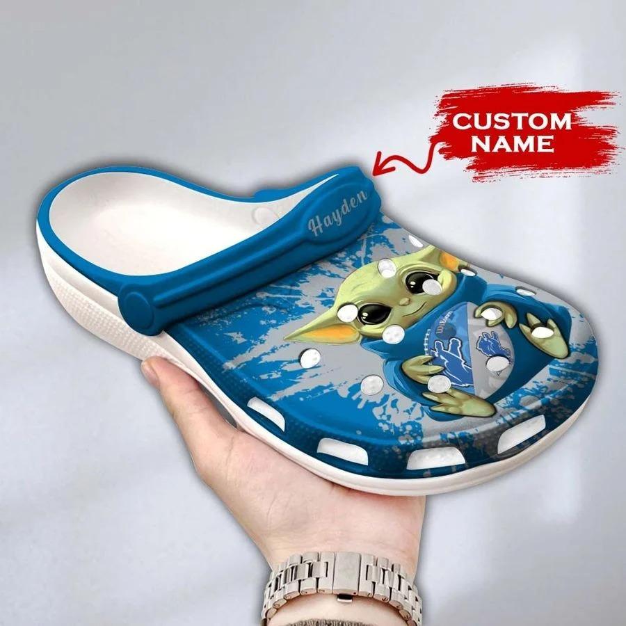 Baby Yoda Detroit Lions custom name crocs crocband clog3