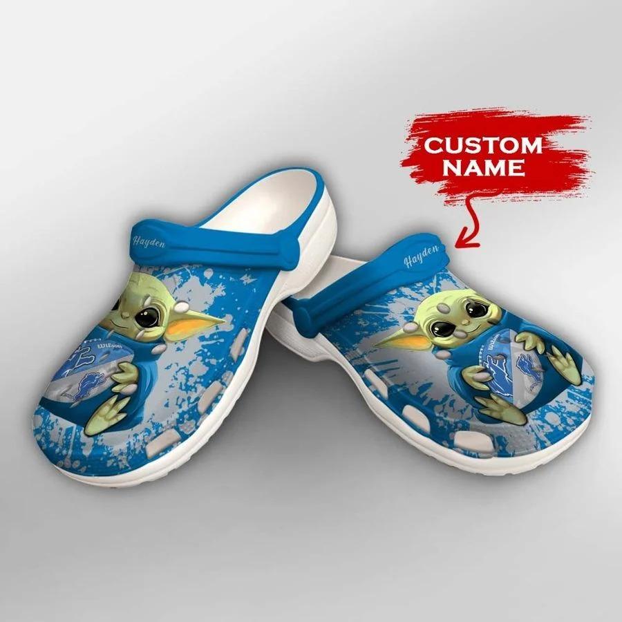 Baby Yoda Detroit Lions custom name crocs crocband clog2