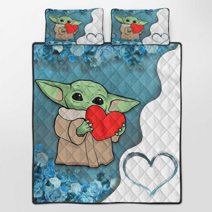 Baby Yoda heart flower quilt bedding set2 1
