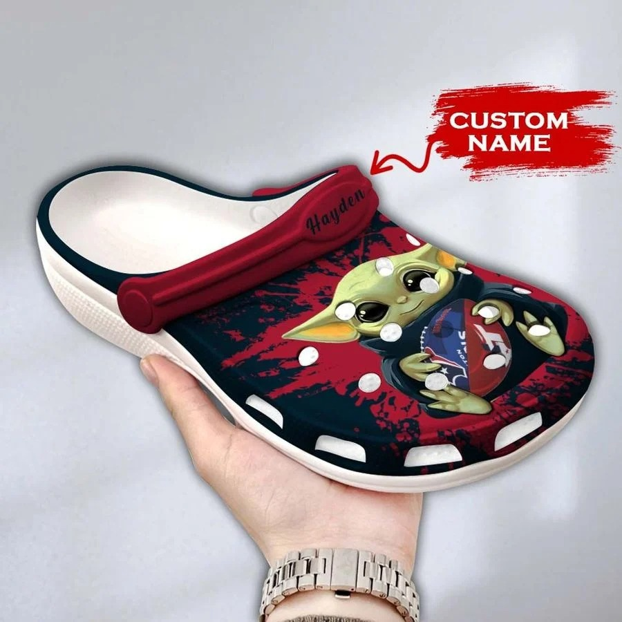 Baby Yoda Houston Texans custom name crocs crocband clog4