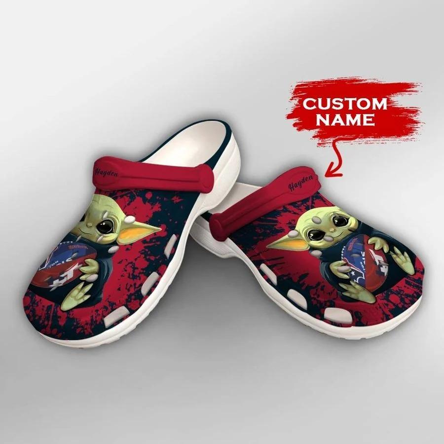 Baby Yoda Houston Texans custom name crocs crocband clog2