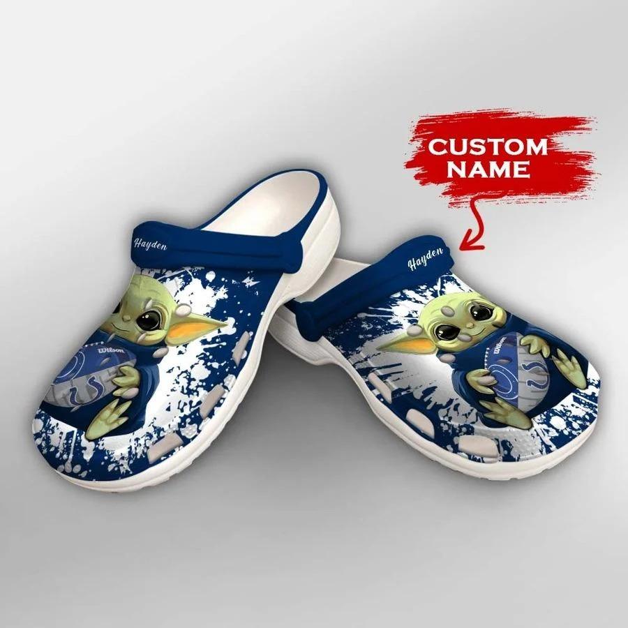 Baby Yoda Indianapolis colts custom name crocs crocband clog2