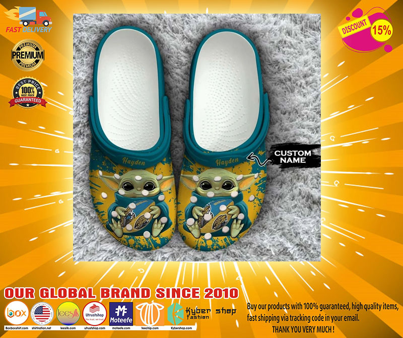 Baby Yoda Jacksonville Jaguars custom name crocs crocband clog4