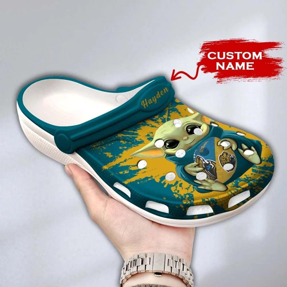 Baby Yoda Jacksonville Jaguars custom name crocs crocband clog3