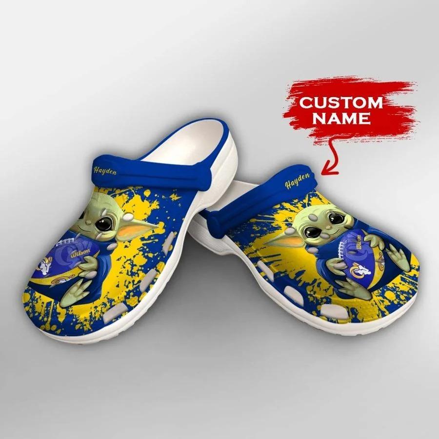 Baby Yoda Los Angeles Rams custom name crocs crocband clog2