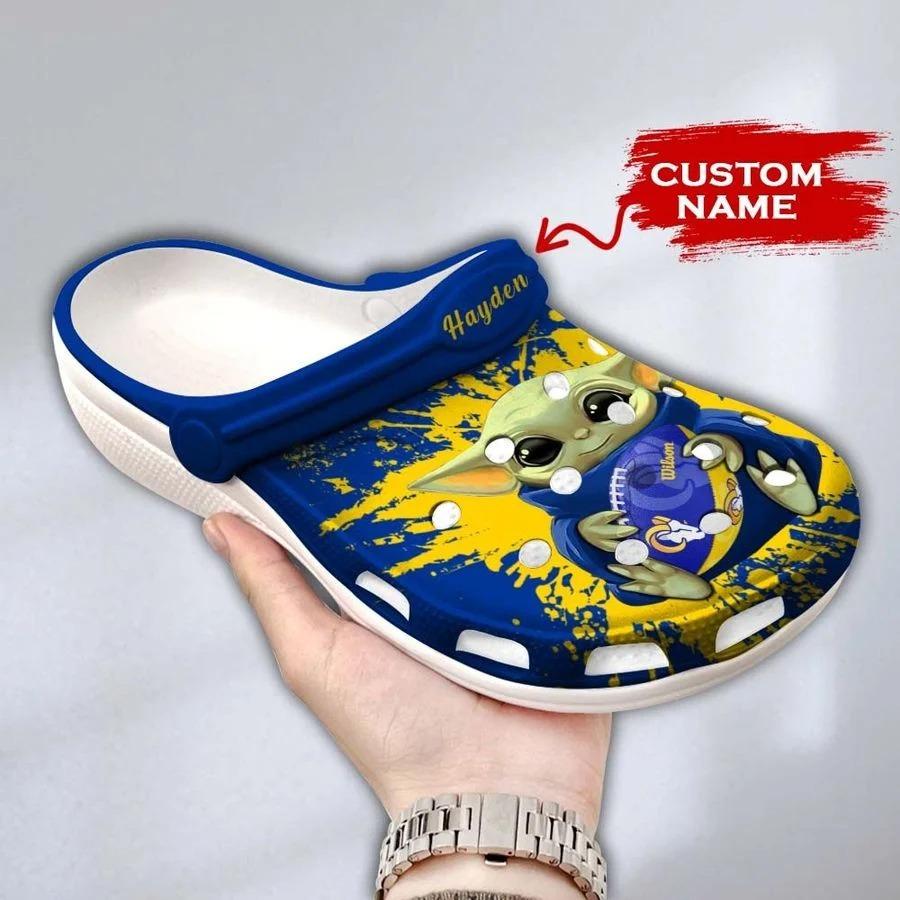 Baby Yoda Los Angeles Rams custom name crocs crocband clog3