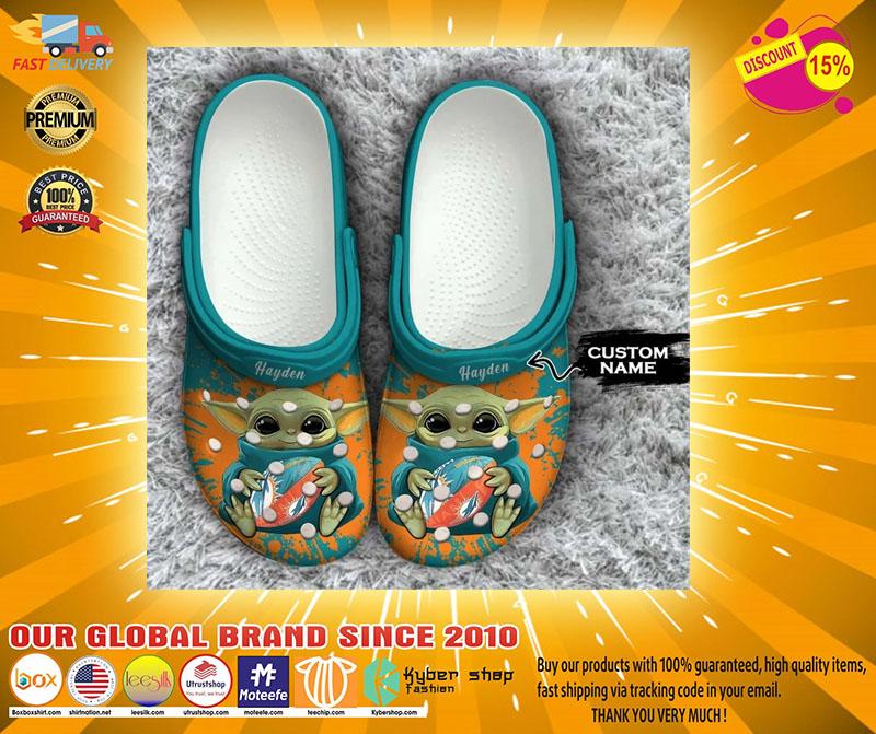 Baby Yoda Miami Dolphins custom name crocs crocband clog4