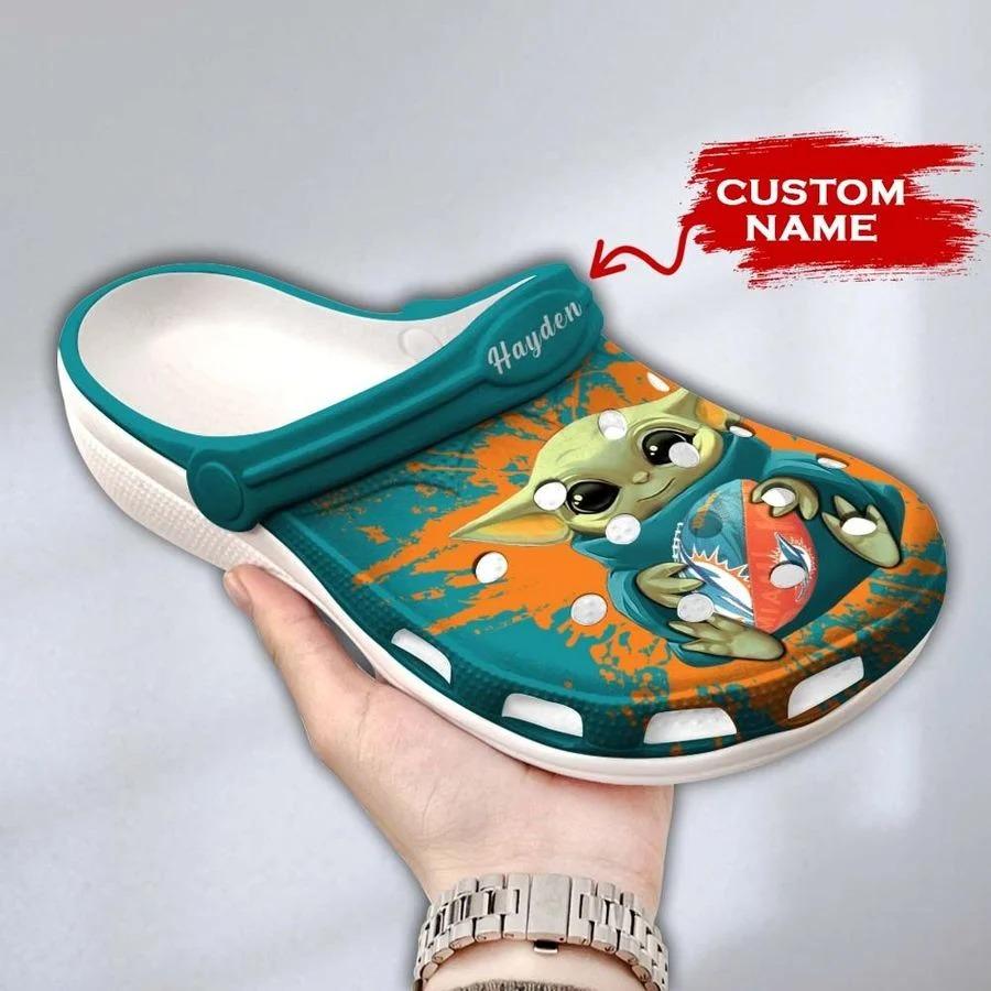 Baby Yoda Miami Dolphins custom name crocs crocband clog3