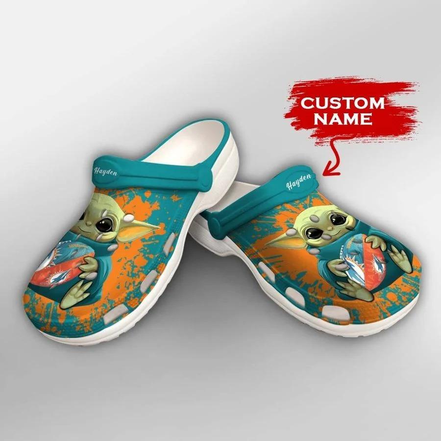 Baby Yoda Miami Dolphins custom name crocs crocband clog2