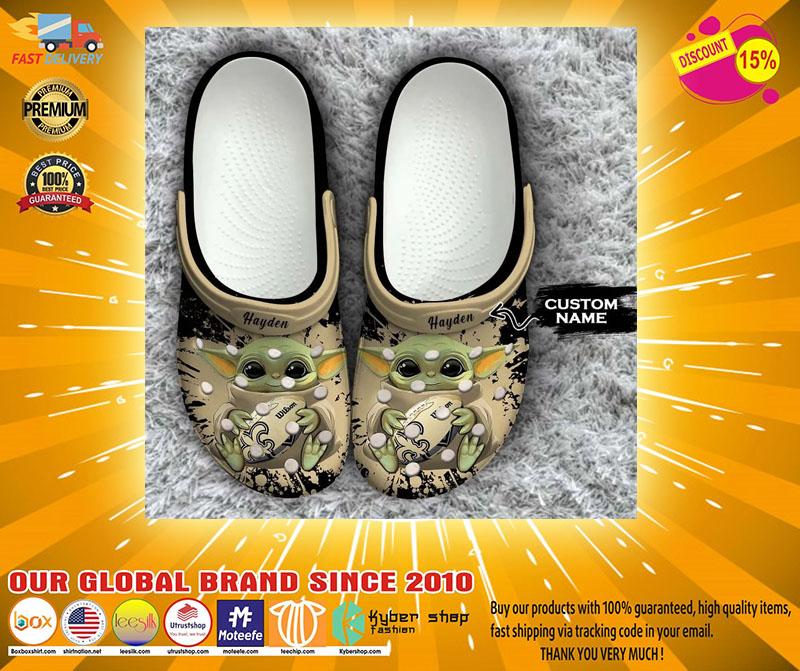 Baby Yoda New Orleans Saints custom name crocs crocband clog4