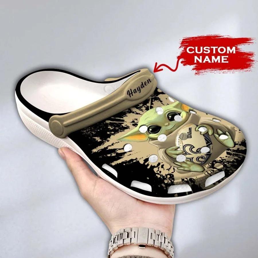 Baby Yoda New Orleans Saints custom name crocs crocband clog3