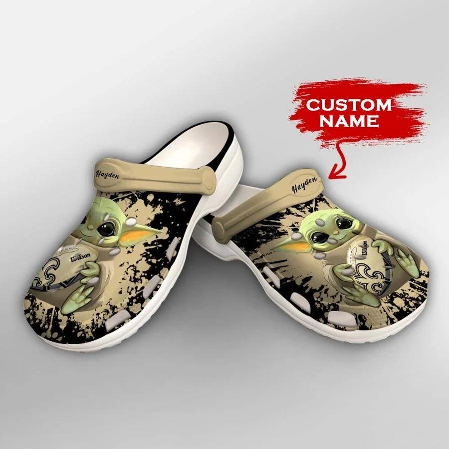 Baby Yoda New Orleans Saints custom name crocs crocband clog2