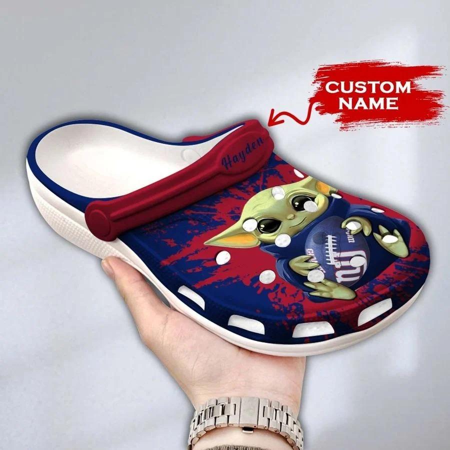 Baby Yoda New York Giants custom name crocs crocband clog3