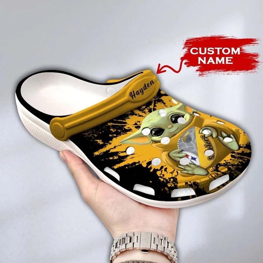 Baby Yoda Pittsburgh steelers custom name crocs crocband clog3
