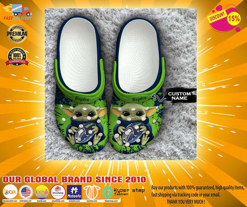 Baby Yoda Seattle Seahawks custom name crocs crocband clog4