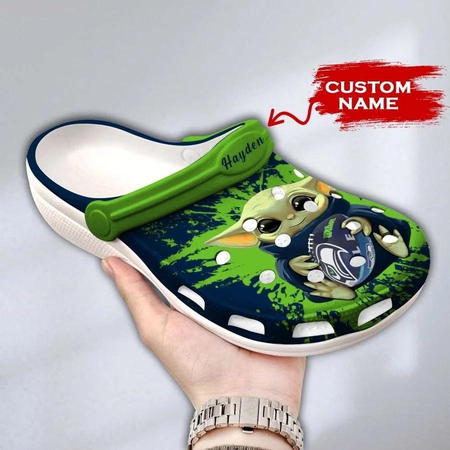 Baby Yoda Seattle Seahawks custom name crocs crocband clog3