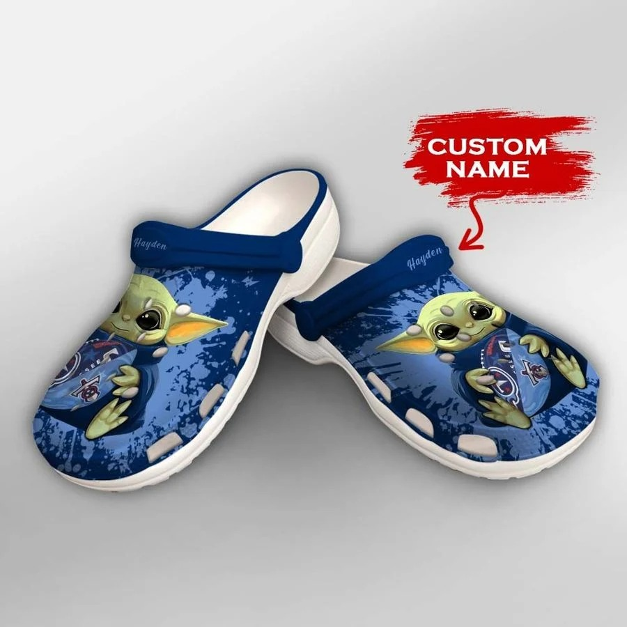 Baby Yoda Tennessee Titans custom name crocs crocband clog2