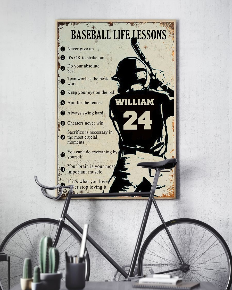 Baseball life lessons custom name and number poster2