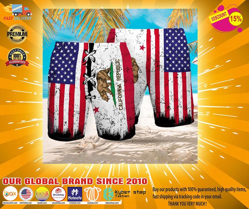 Bear American flag California republic Beach hawaiian short2