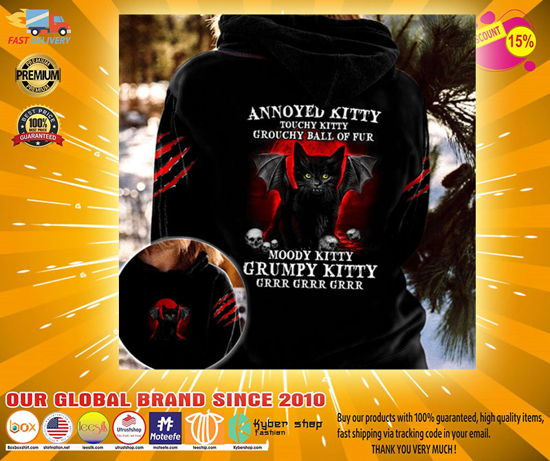 Black cat Annoyed kitty touchy kitty grouchy ball of fur moody grumpy kitty 3D hoodie2
