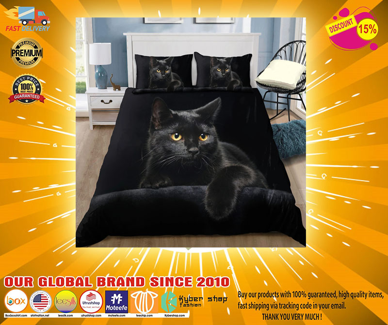 Black cat on the night bedding set2