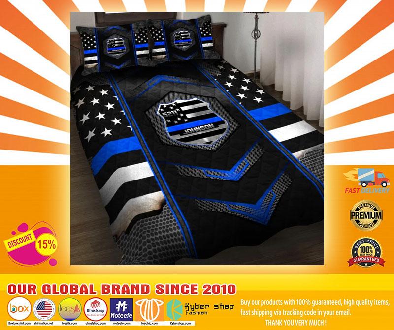 Blue police badge custom name quilt bedding set4
