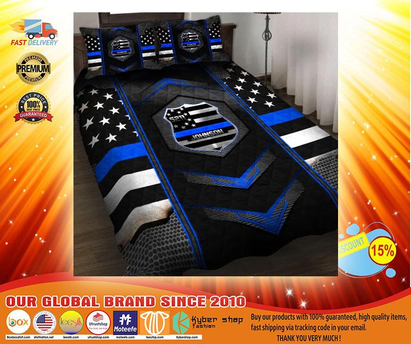Blue police badge custom name quilt bedding set3