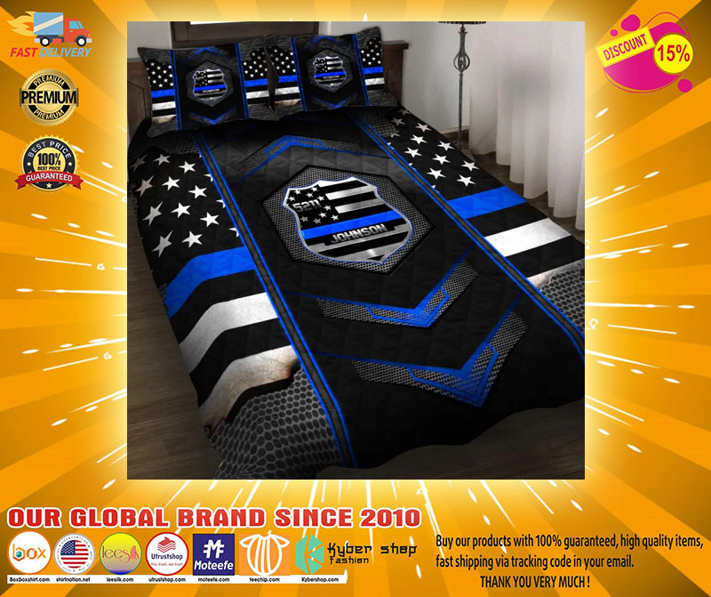 Blue police badge custom name quilt bedding set2