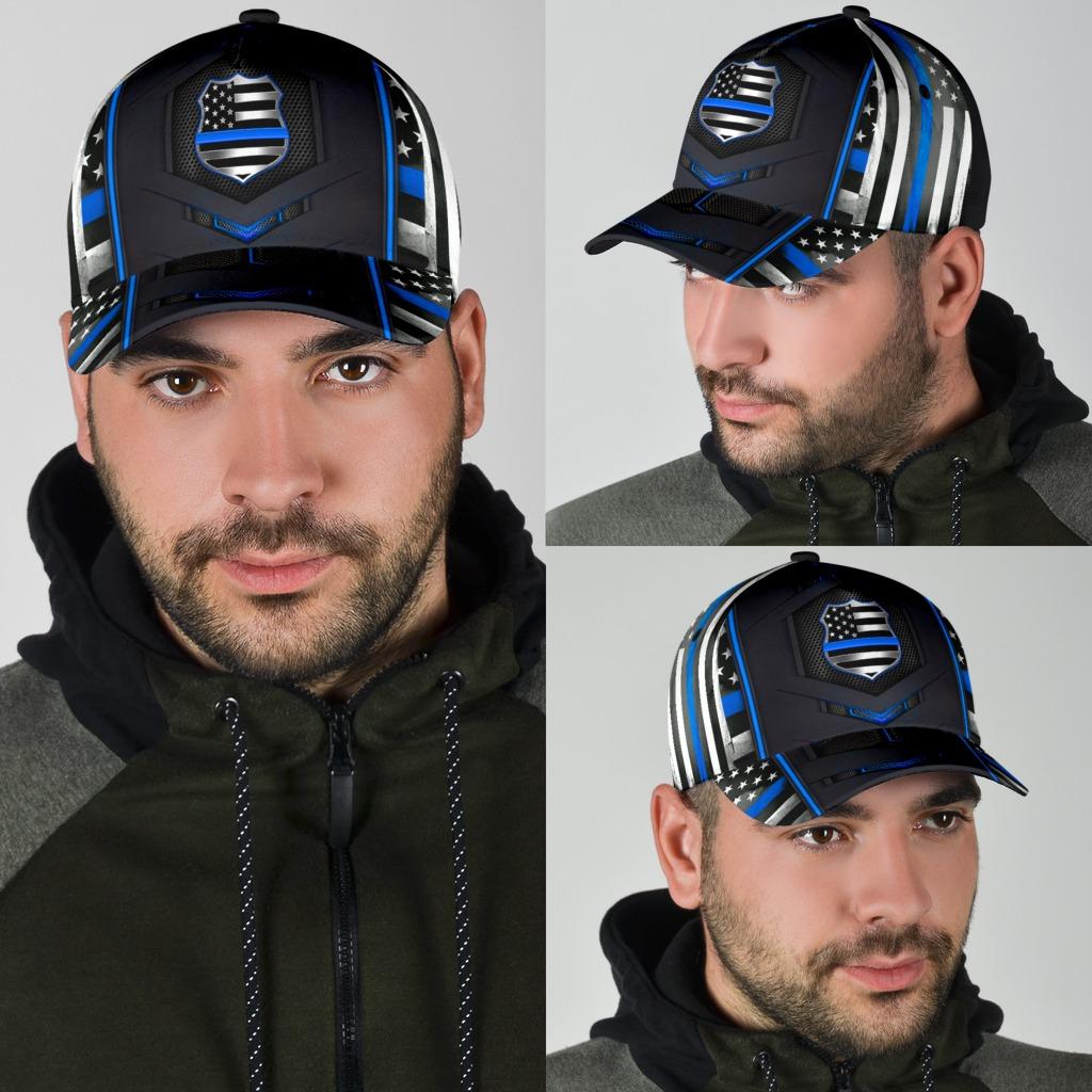 Blue police flag cap4