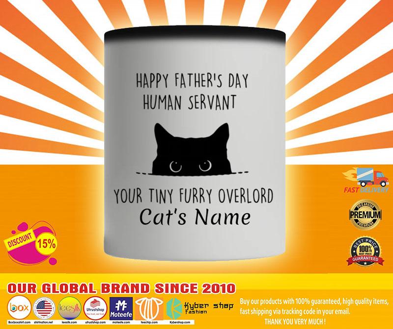 Cat Happy fathers day human servant your tiny furry overload custom name mug4