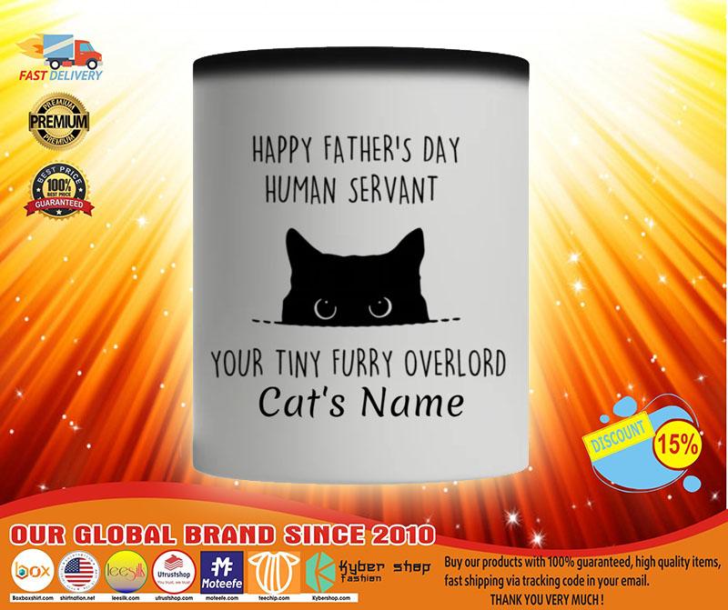 Cat Happy fathers day human servant your tiny furry overload custom name mug3