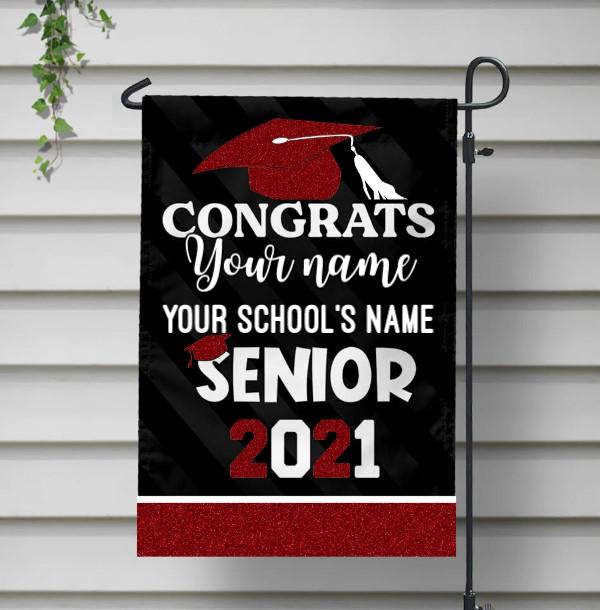 Congrats senior 2021 custom name and school name flag red 1