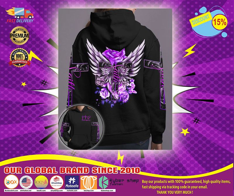 Cross purple rose butterfly faith 3D hoodie1