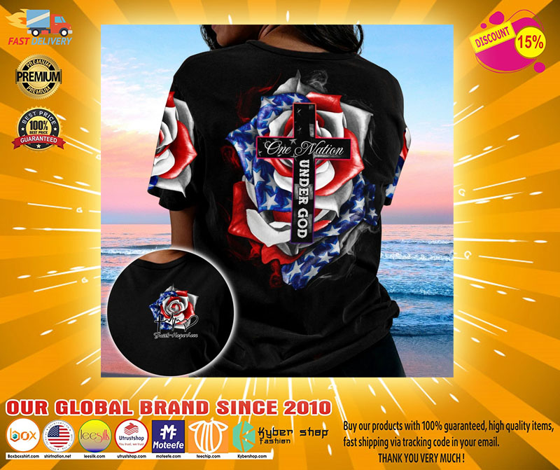 Cross Rose American flag One nation under god 3D hoodie2