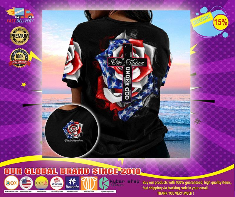 Cross Rose American flag One nation under god 3D hoodie1