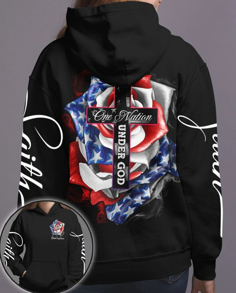 Cross Rose American flag One nation under god 3D hoodie