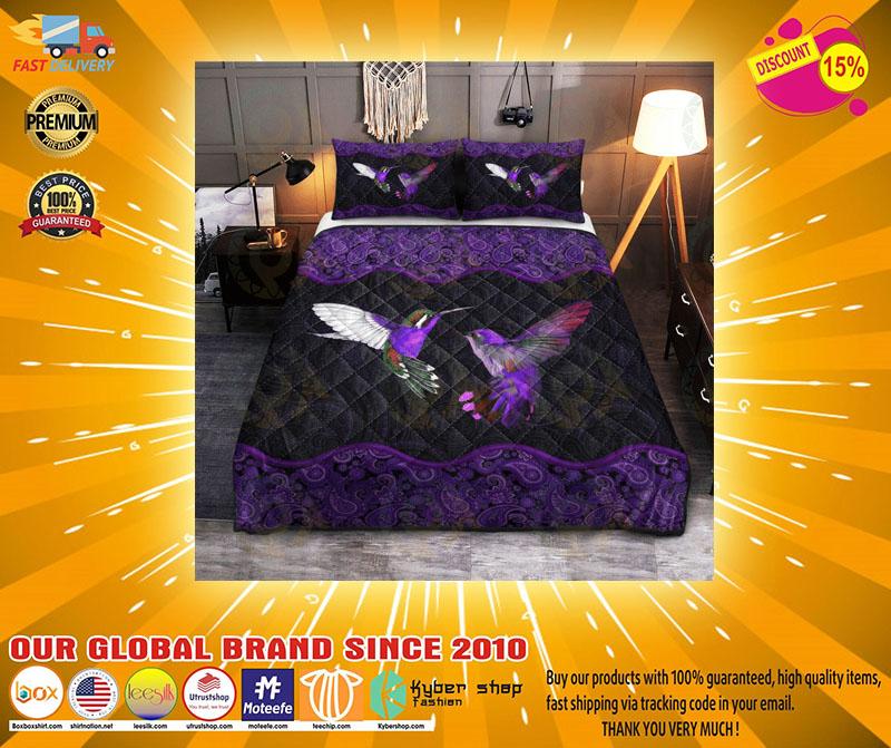 Hummingbird couple purple quilt bedding set3