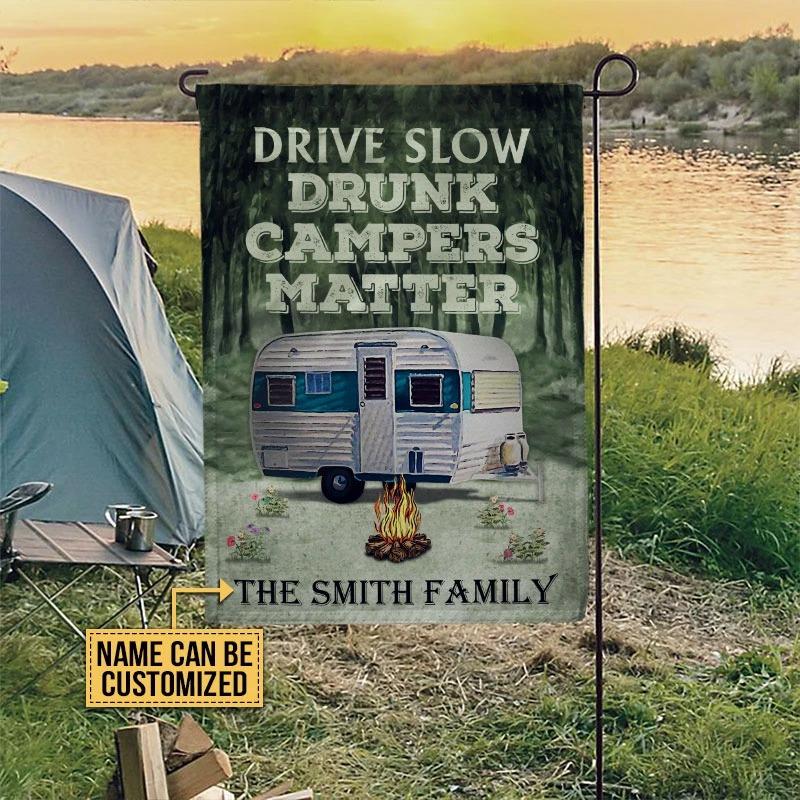 Drive slow drunk campers matter custom name flag5