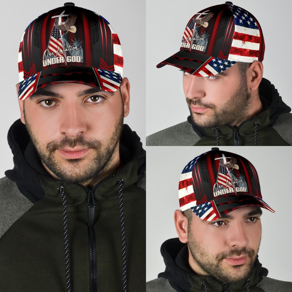 Eagle American flag one nation under god cap4