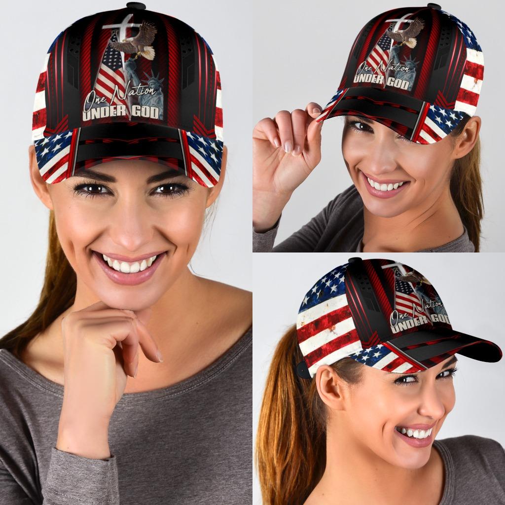 Eagle American flag one nation under god cap3