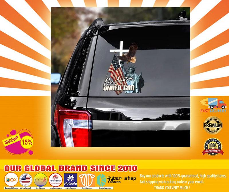 Eagle American flag one nation under god car decal4