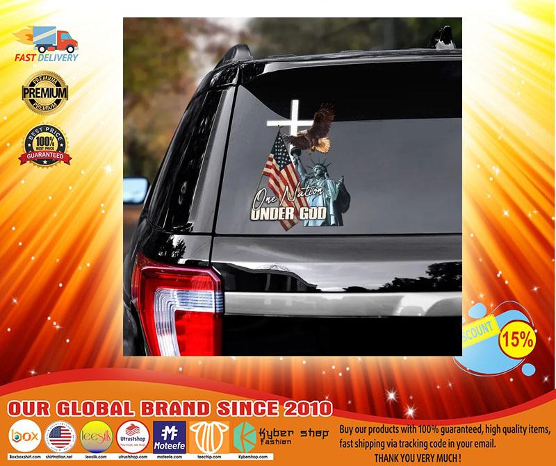 Eagle American flag one nation under god car decal3