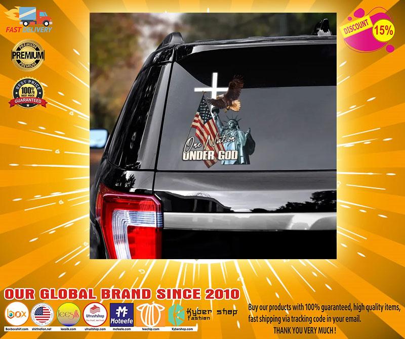 Eagle American flag one nation under god car decal2